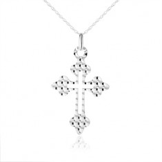 895377d73 Šperky eshop - Náhrdelník zo striebra 925, kríž - ozdobné ramená, guličky  na povrchu SP07.19