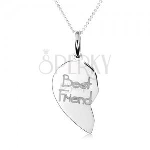 """Dvojitý strieborný náhrdelník 925, dvojprívesok srdca, nápis """"Best Friend"""""""