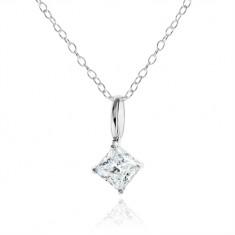 Šperky eshop - Strieborný náhrdelník 925, číry zirkónový kosoštvorec, ozdobný kotlík SP07.31