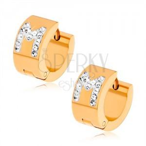 """Náušnice z ocele zlatej farby, biele písmeno """"M"""" s čírymi kamienkami"""