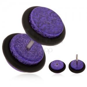Akrylový falošný plug do ucha, fialový pieskovaný povrch, gumičky