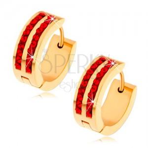 Oceľové náušnice zlatej farby, dve zvislé línie rubínovo červených zirkónov