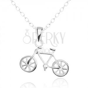 Strieborný náhrdelník 925, detailne vyrezávaný prívesok bicykla