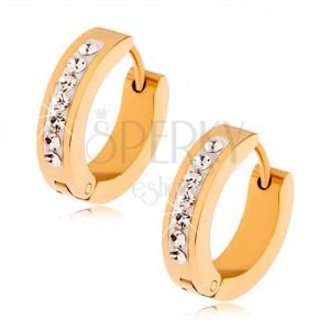 Náušnice z ocele, zlatá farba, pásik vykladaný čírymi kamienkami