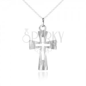 Strieborný náhrdelník 925, plochý kríž s ozdobnými šikmými zárezmi