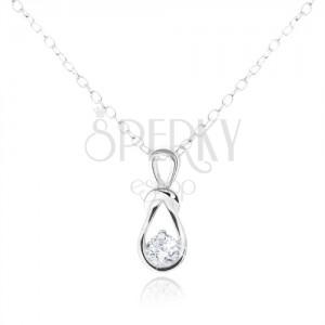 Strieborný náhrdelník 925, prívesok slučky s okrúhlym čírym zirkónom