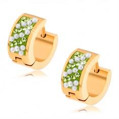 Šperky eshop - Oceľové náušnice zlatej farby, svetlozelené kamienky, biele guličky S78.20