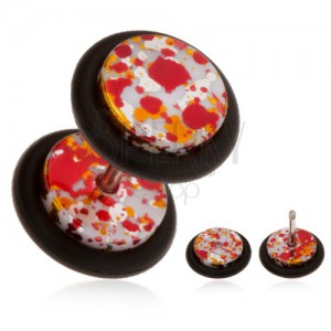 Akrylový fake piercing do ucha, farebné fľaky na povrchu, gumičky