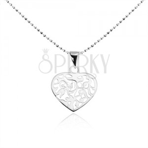 Náhrdelník zo striebra 925, guličková retiazka, ploché srdce s výrezmi