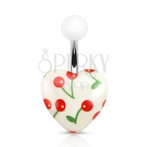 Oceľový piercing do pupka, biela akrylová gulička a srdce s čerešňami