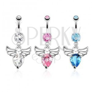 Piercing do bruška z ocele - anjel s ozdobnými výrezmi, farebné zirkóny