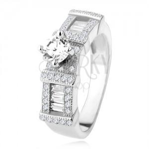 Strieborný zásnubný prsteň 925, zirkónové obdĺžniky, okrúhly kamienok