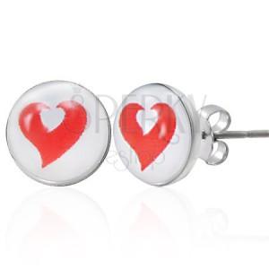 Oceľové náušnice červené a biele srdce