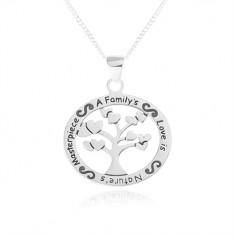 Šperky eshop - Náhrdelník zo striebra 925, oválny prívesok - strom so srdiečkami, nápis SP34.31