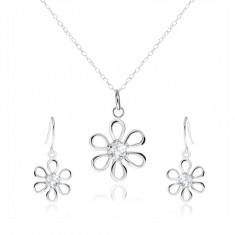 Šperky eshop - Strieborná 925 sada - náhrdelník a visiace náušnice, kvet so zirkónom SP34.16