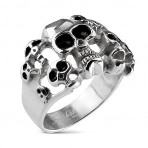 Oceľový prsteň 10 lebiek