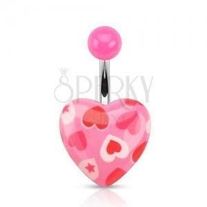 Piercing do pupku z ocele, gulička a ružové srdiečko s potlačou