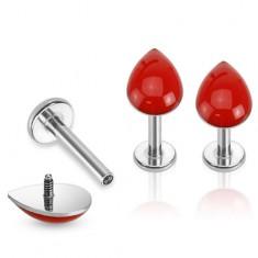 Piercing do brady z ocele, strieborná farba, červená kvapka