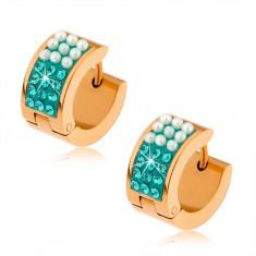 Šperky eshop - Oceľové náušnice zlatej farby, perleťovo biele guličky, tyrkysové zirkóny S86.16
