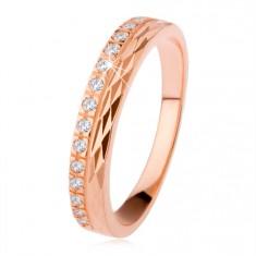 Strieborný prsteň 925 medenej farby, diamantový rez, zirkónová línia