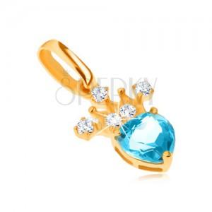 Prívesok v žltom 9K zlate, zirkónová korunka, modrý srdiečkový topás