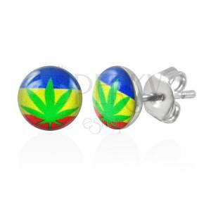 Náušnice z ocele marihuana so zástavou