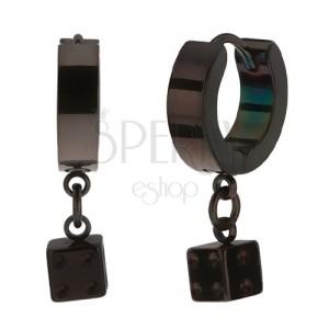 Kĺbové oceľové náušnice, čierna farba, lesklý povrch, hracia kocka