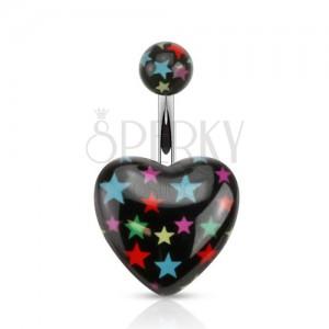 Piercing do brucha z ocele, čierna gulička a srdce s farebnými hviezdami