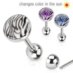 Oceľový piercing do jazyka, tigrovaná potlač meniaca farbu na slnku
