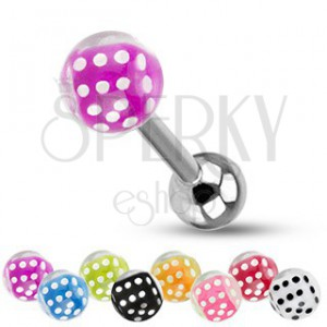 Barbell do jazyka z ocele, strieborná farba, guličky, farebné hracie kocky
