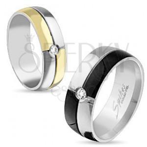 Oceľový prsteň striebornej a čiernej farby, zirkón uprostred, 8 mm