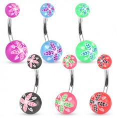 Piercing do pupku z ocele, farebné guličky z akrylu, kvetinový motív