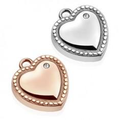 Oceľový prívesok - srdce, ozdobne gravírované guličky, číry zirkón