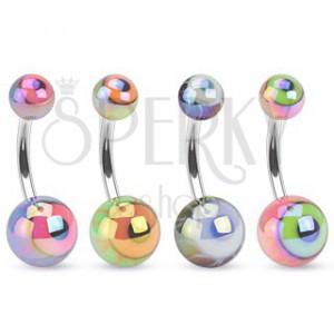 Piercing do bruška z ocele, farebné guličky s metalickým odleskom, oko