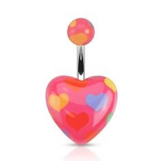 Piercing do bruška z ocele 316L, tmavoružové srdce a gulička, srdiečková potlač