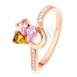 Strieborný prsteň 925, medená farba, trojfarebný zirkónový trojlístok