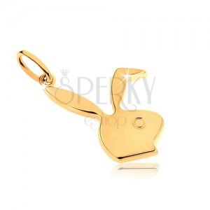 Prívesok zo žltého 9K zlata, lesklá hlava zajačika Playboy
