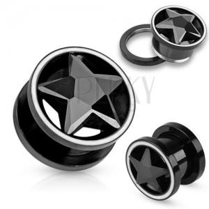 Tunel plug z ocele čiernej farby, zirkónová brúsená hviezda, biely lem