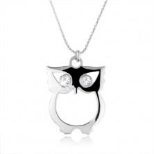 Strieborný 925 náhrdelník, retiazka a múdra sova so zirkónovými očkami