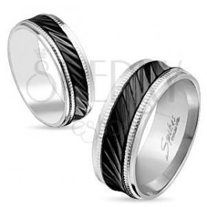 Oceľová obrúčka striebornej farby, čierny pruh so šikmými zárezmi, vrúbky, 8 mm
