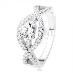 Strieborný prsteň 925, zvlnené zirkónové línie, okrúhly číry kameň