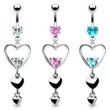 Oceľový piercing do bruška, tri srdcia striebornej farby, ružové zirkóny
