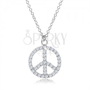 Strieborný náhrdelník 925, symbol mieru vykladaný čírymi zirkónmi