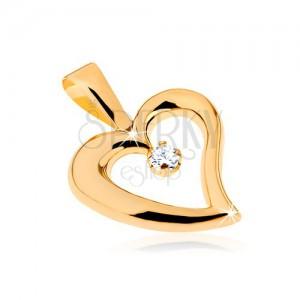 Zlatý prívesok 375 - lesklý obrys nepravidelného srdca, číry zirkón v strede