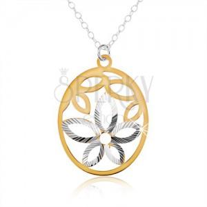 Strieborný náhrdelník 925, oválny prívesok, výrez kvetu, lupene zlatej farby
