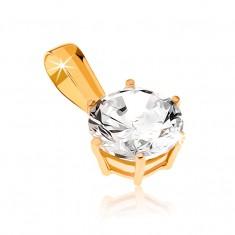 d4dc05459 Šperky eshop - Prívesok zo žltého zlata 9K - ligotavý vybrúsený okrúhly  zirkón GG32.06