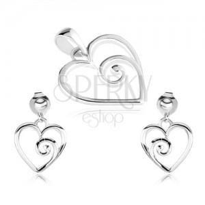 Strieborný set 925, prívesok a náušnice, kontúra srdca so špirálou