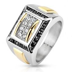 Oceľový prsteň striebornej a zlatej farby, čierne a číre zirkóny, obdĺžniky