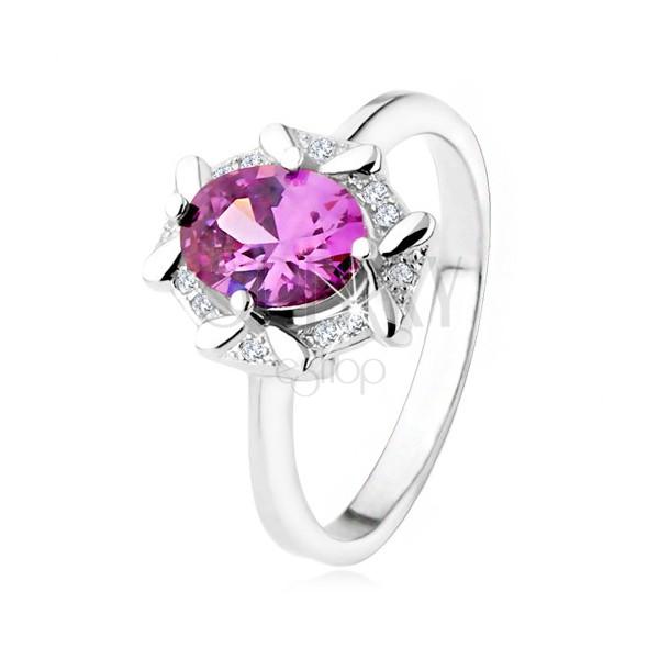 Zásnubný prsteň zo striebra 925, oválny fialový kamienok, zirkónový lem