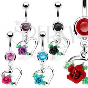Oceľový piercing do bruška, obrys srdca, rozkvitnutá ruža s lístkami, zirkóny